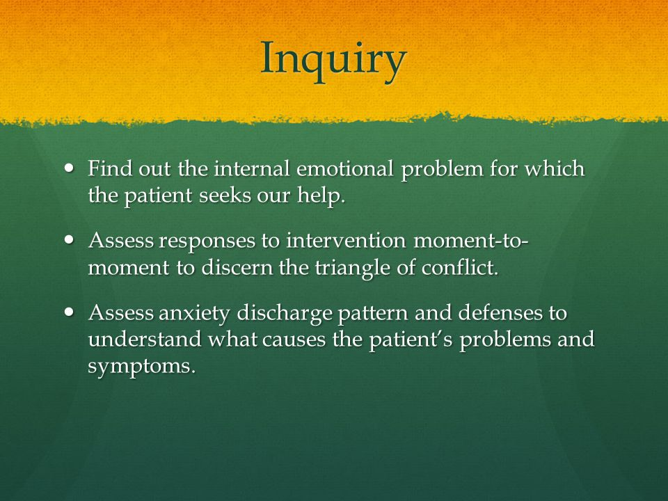 Inquiry Find out the internal emotional problem for which the patient seeks our help.