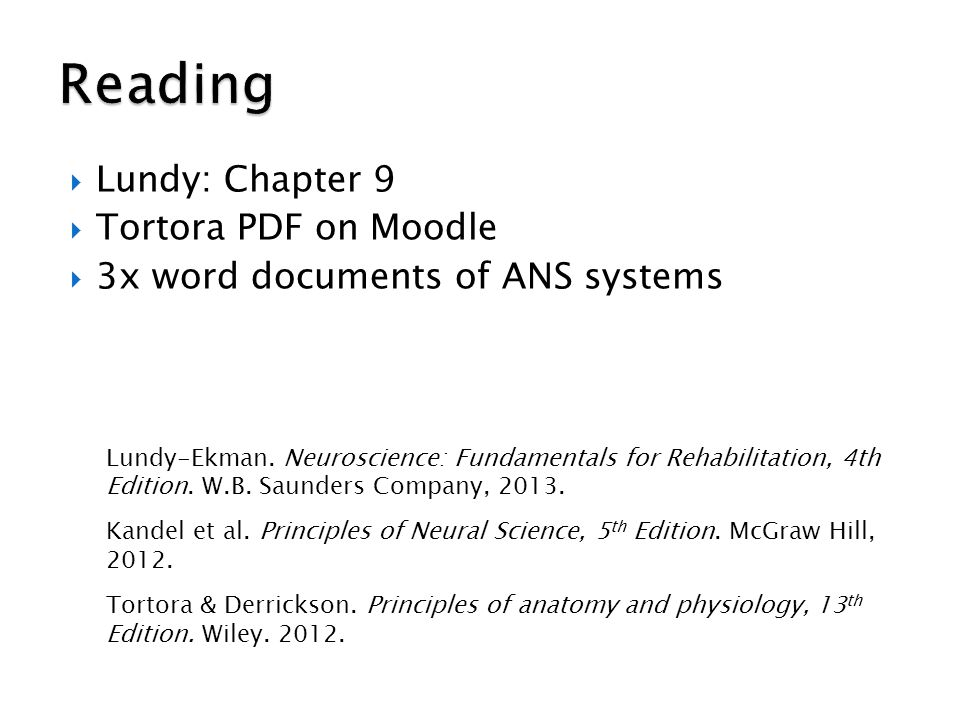 Reading Lundy: Chapter 9 Tortora PDF on Moodle