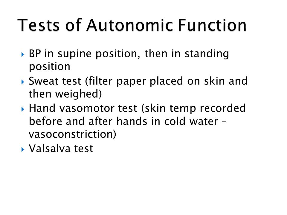 Tests of Autonomic Function