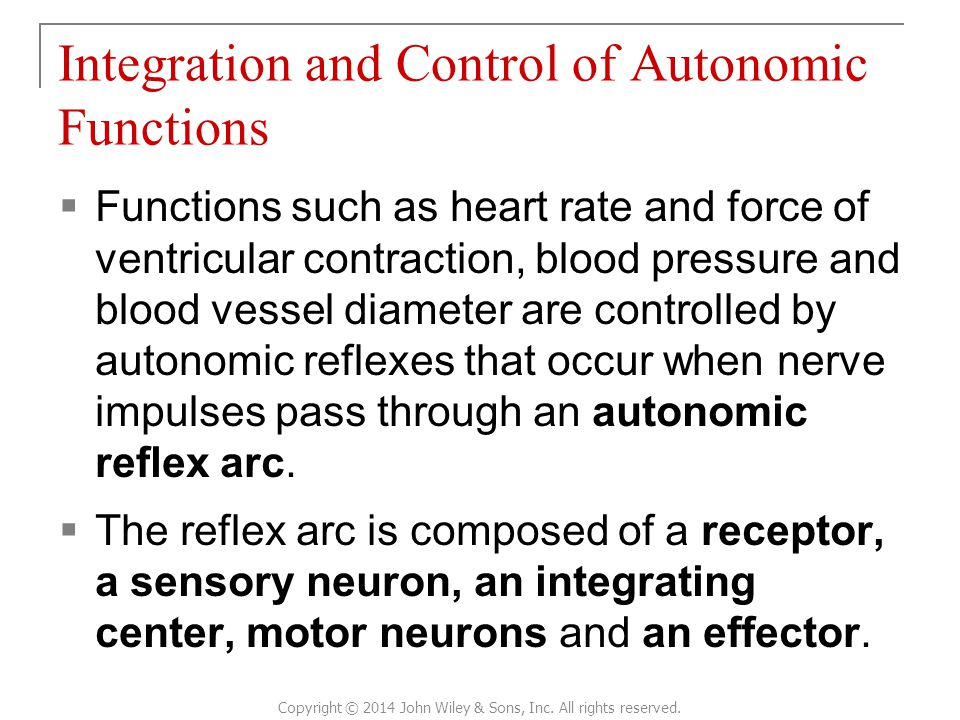 Integration and Control of Autonomic Functions