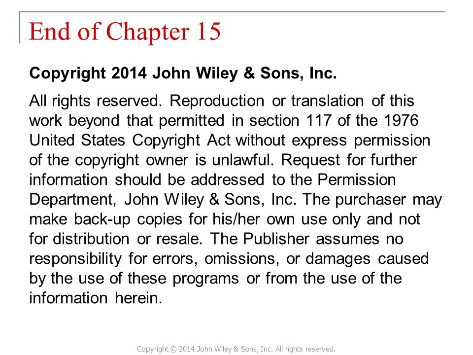 Copyright © 2014 John Wiley & Sons, Inc. All rights reserved.
