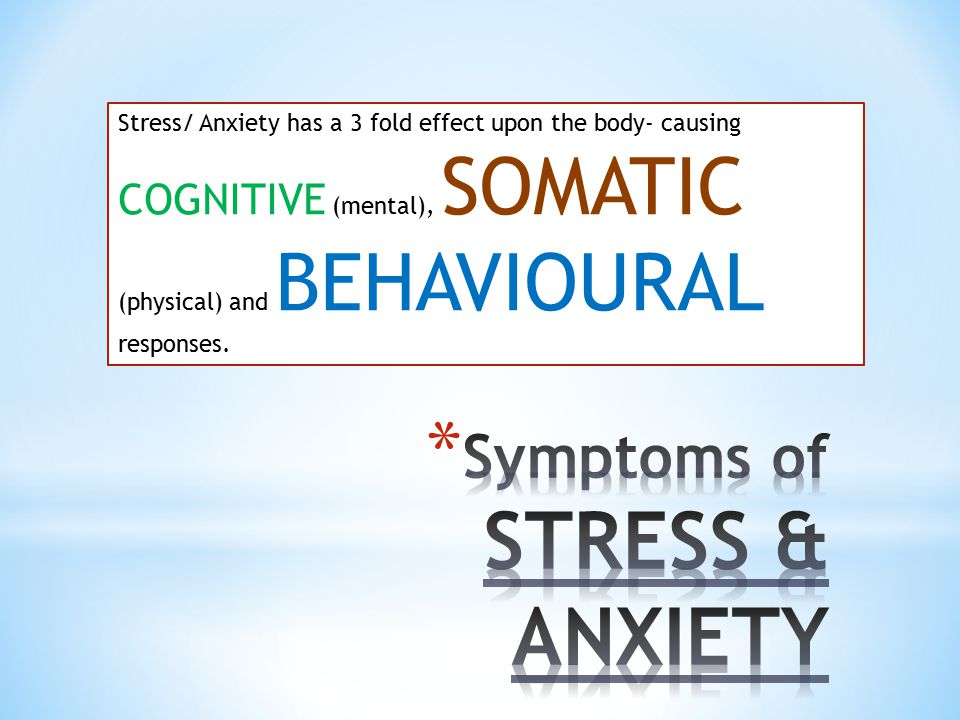 Symptoms of STRESS & ANXIETY