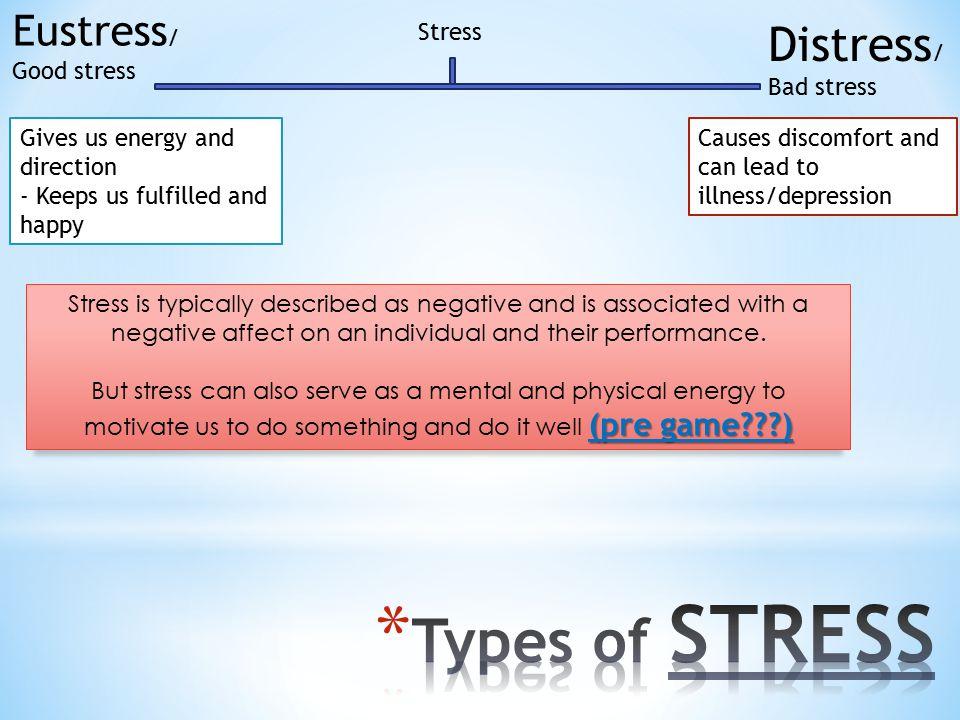 Types of STRESS Distress/ Bad stress Eustress/ Good stress Stress