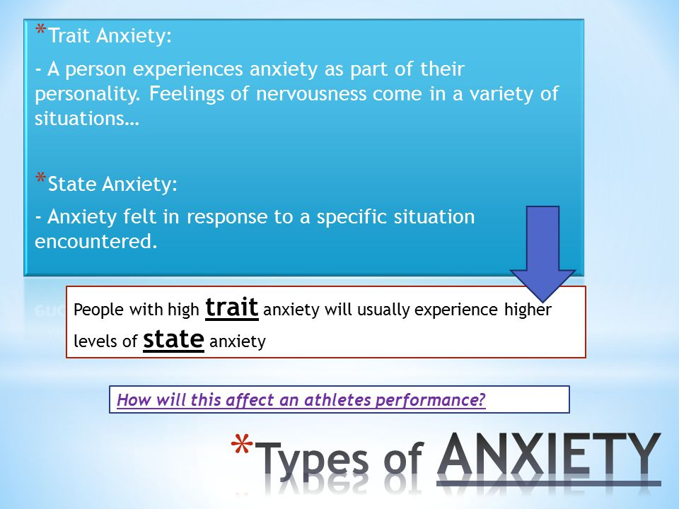 Types of ANXIETY Trait Anxiety: