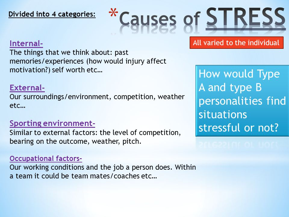 Causes of STRESS Divided into 4 categories: Internal-