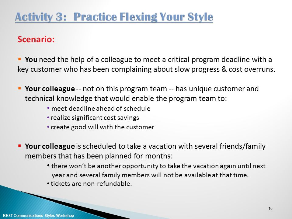 Activity 3: Practice Flexing Your Style