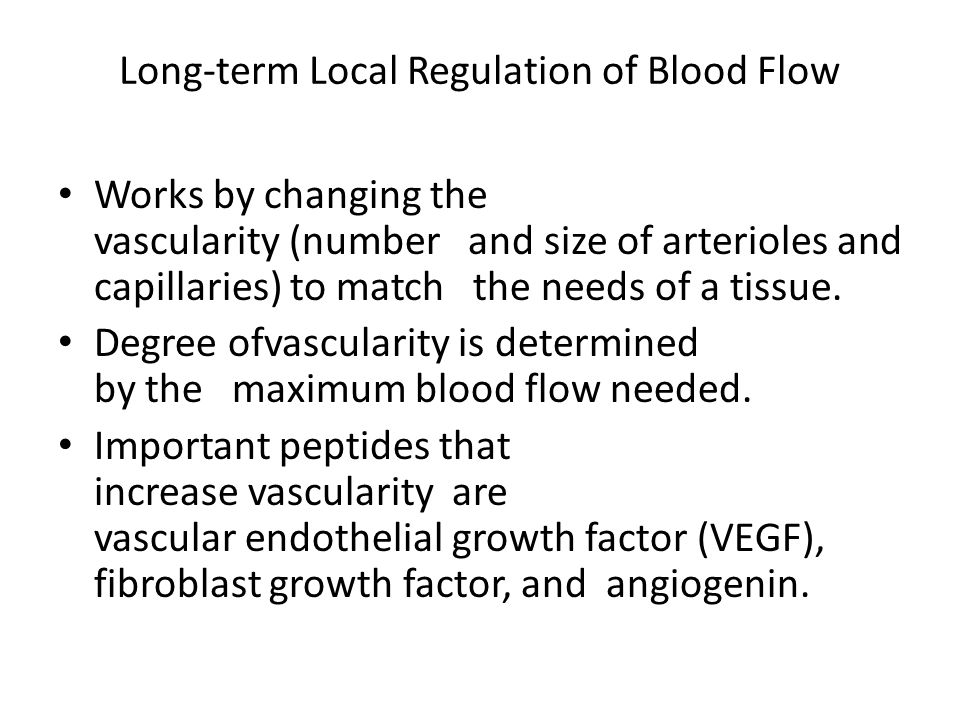 Long-term Local Regulation of Blood Flow