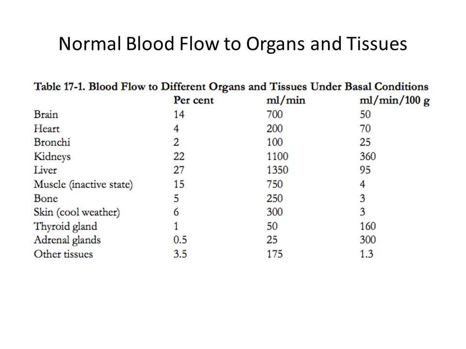 Normal Blood Flow to Organs and Tissues
