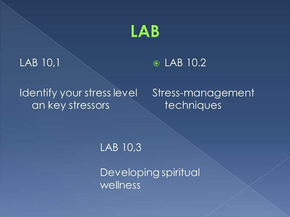 LAB LAB 10,1 Identify your stress level an key stressors LAB 10.2
