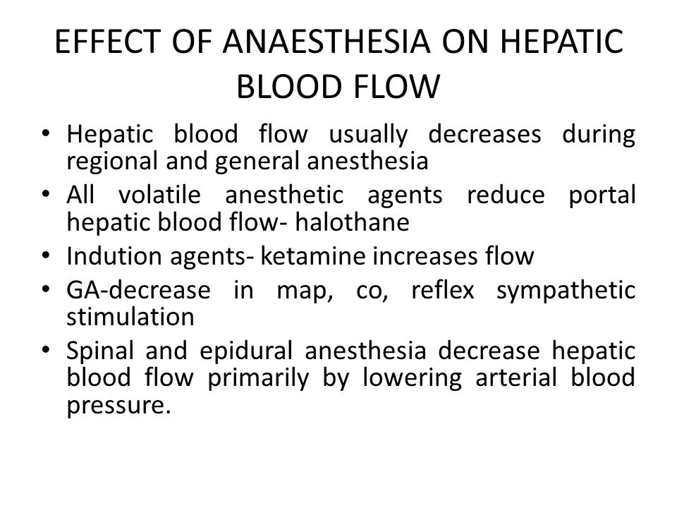 EFFECT OF ANAESTHESIA ON HEPATIC BLOOD FLOW
