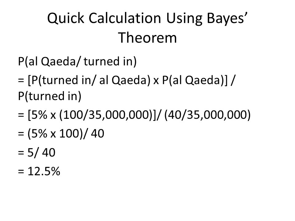 Quick Calculation Using Bayes' Theorem