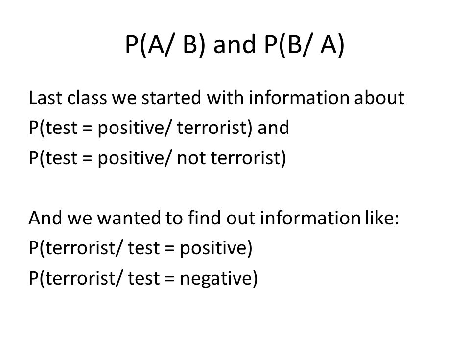 P(A/ B) and P(B/ A)