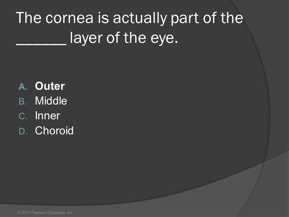 The cornea is actually part of the ______ layer of the eye.