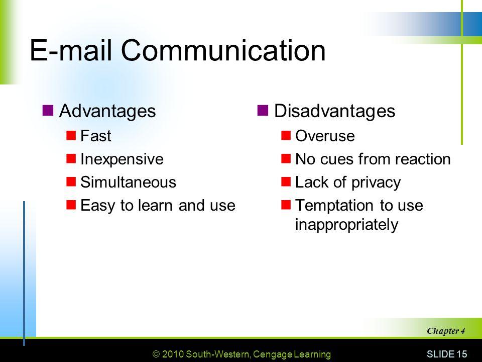 E-mail Communication Advantages Disadvantages Fast Inexpensive