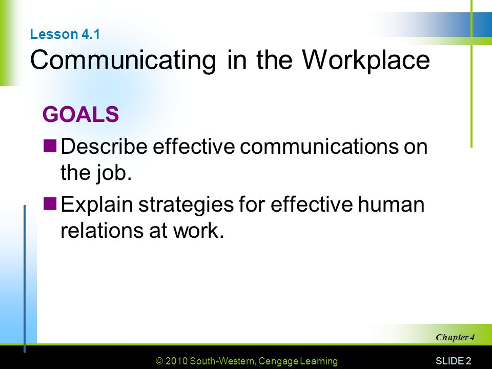 Lesson 4.1 Communicating in the Workplace