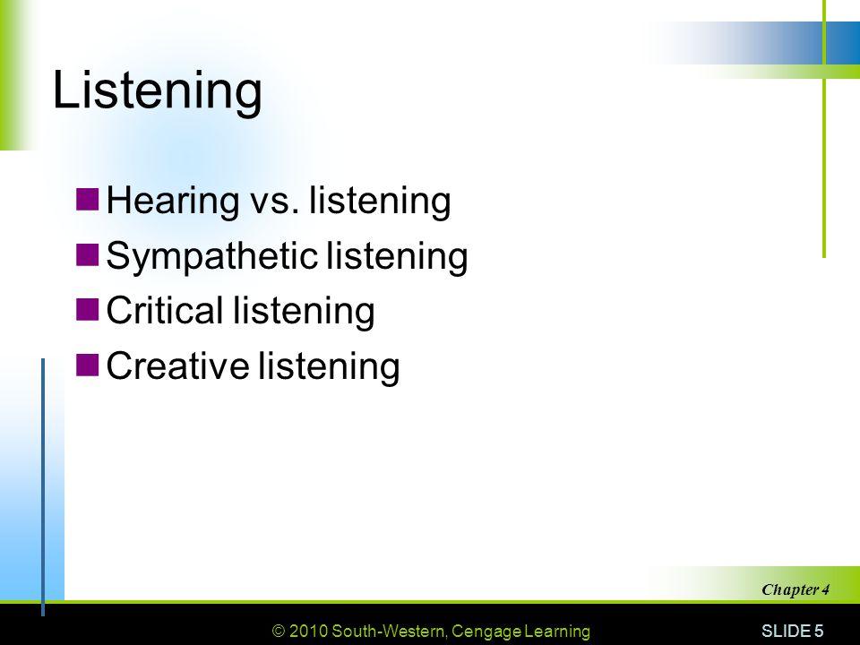 Listening Hearing vs. listening Sympathetic listening