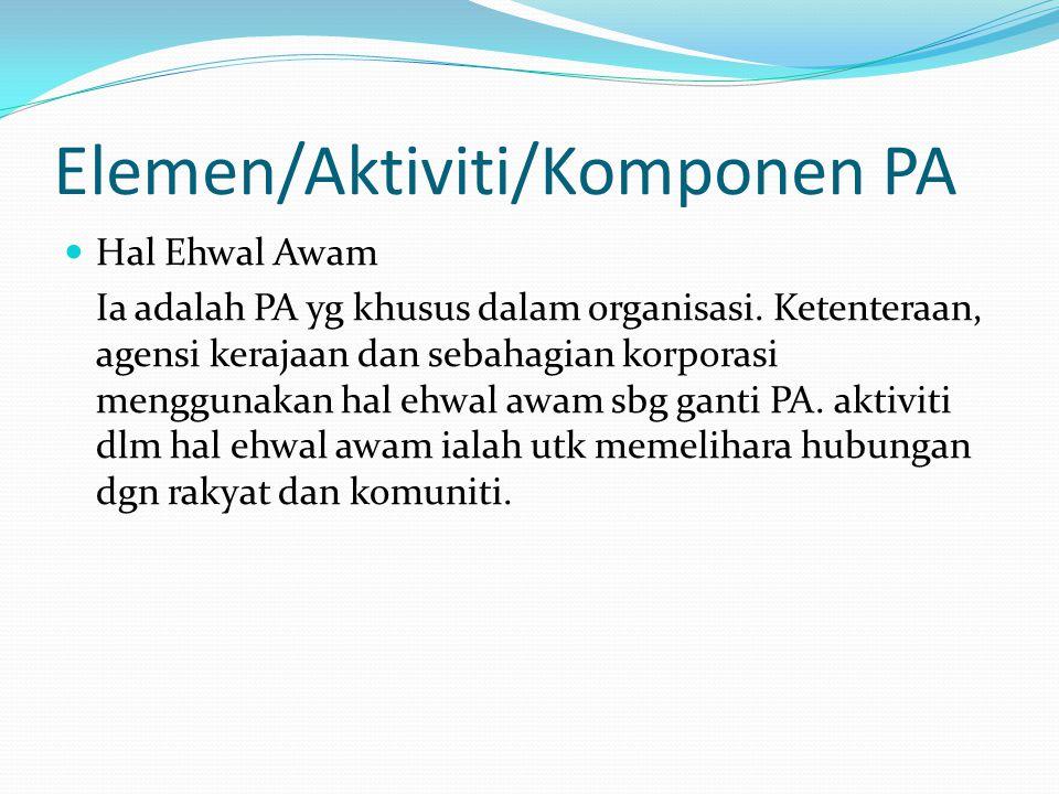 Elemen/Aktiviti/Komponen PA