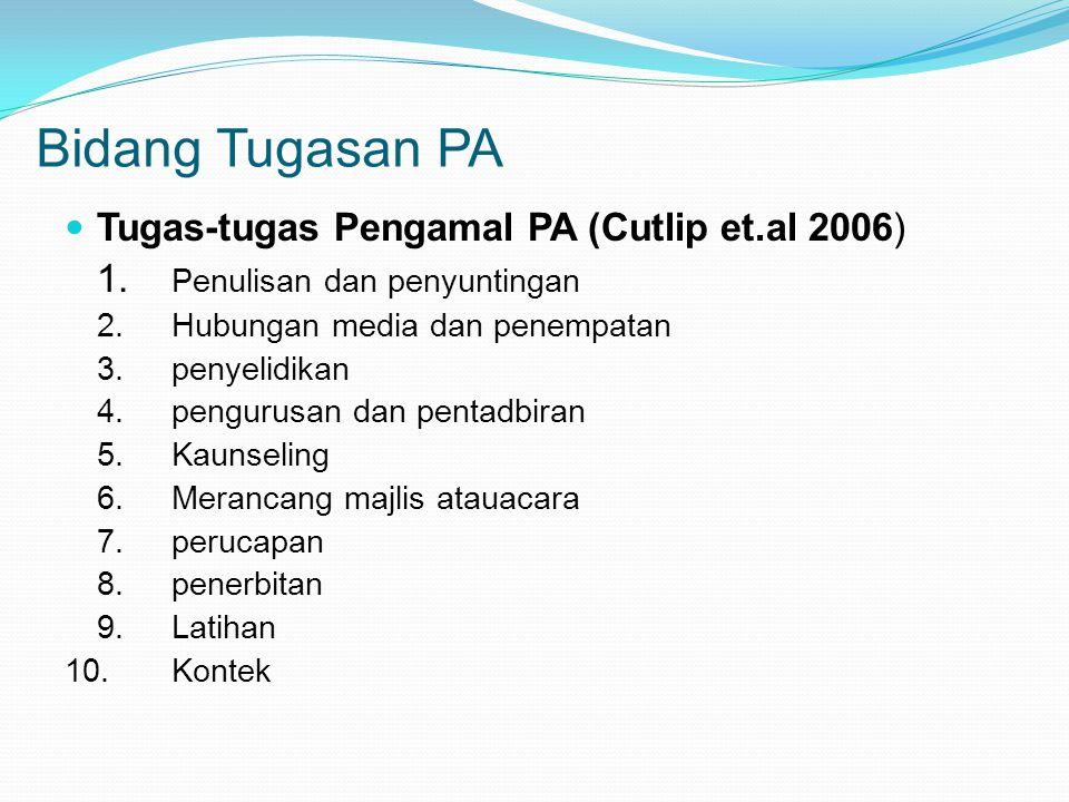 Bidang Tugasan PA Tugas-tugas Pengamal PA (Cutlip et.al 2006)