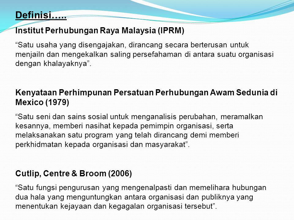Definisi….. Institut Perhubungan Raya Malaysia (IPRM)