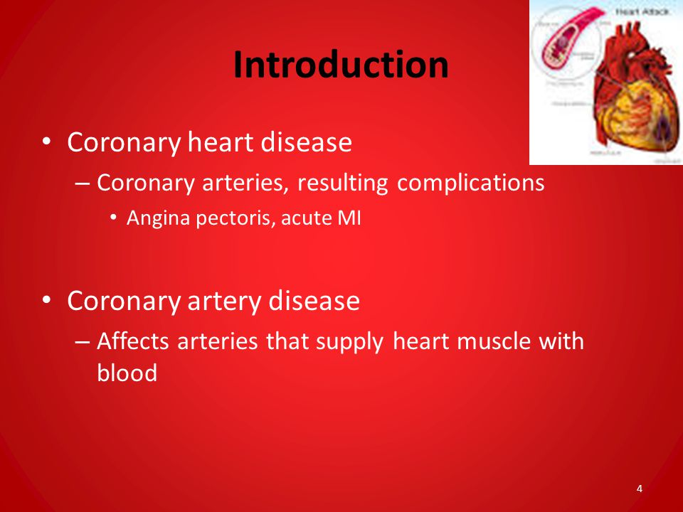 Introduction Coronary heart disease Coronary artery disease