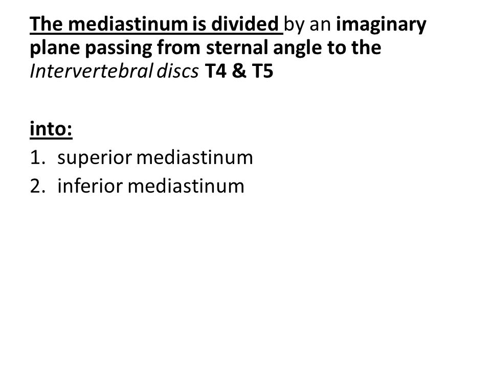 The mediastinum is divided by an imaginary plane passing from sternal angle to the Intervertebral discs T4 & T5