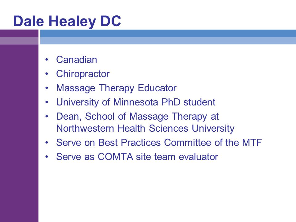 Dale Healey DC Canadian Chiropractor Massage Therapy Educator