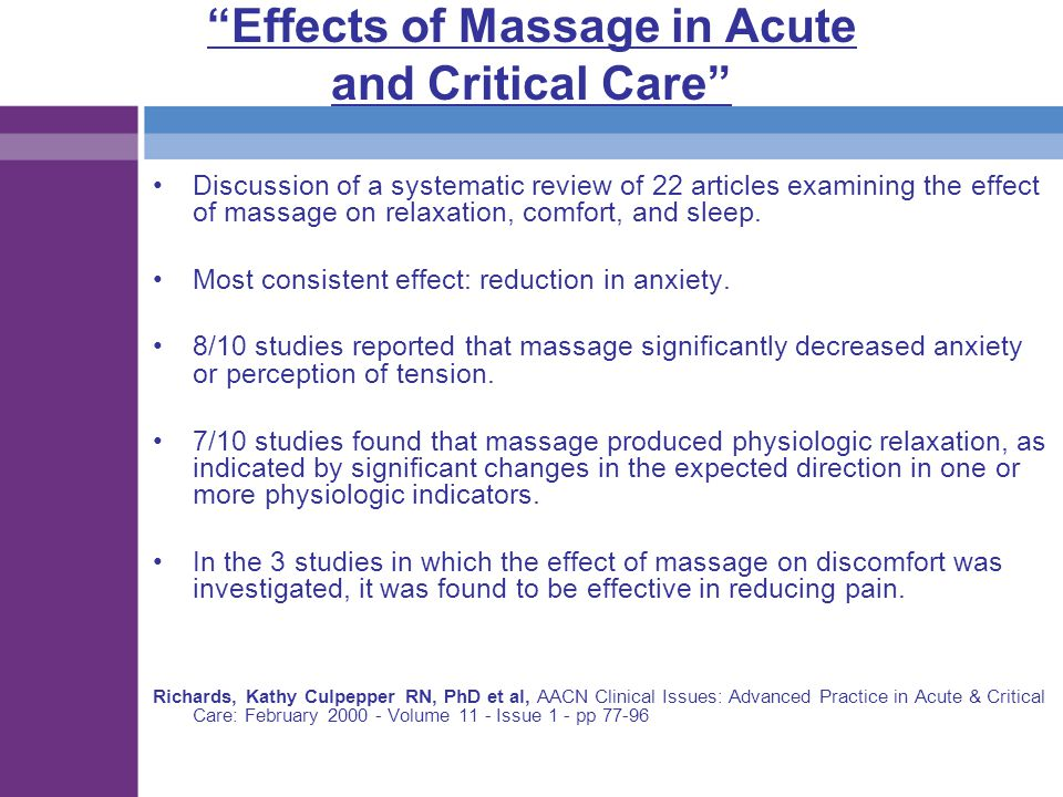 Effects of Massage in Acute and Critical Care