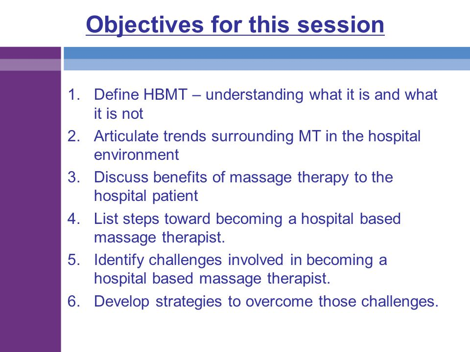 Objectives for this session