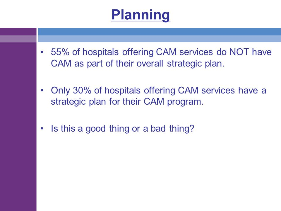 Planning 55% of hospitals offering CAM services do NOT have CAM as part of their overall strategic plan.