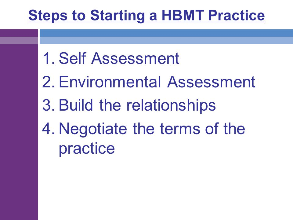 Steps to Starting a HBMT Practice