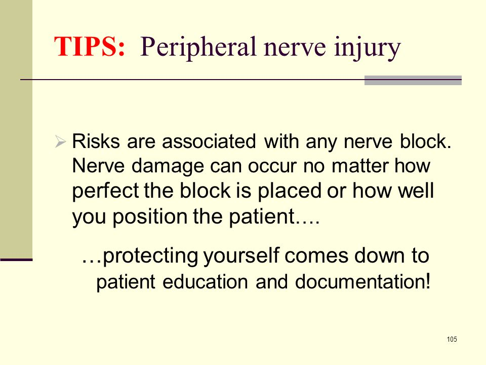 TIPS: Peripheral nerve injury