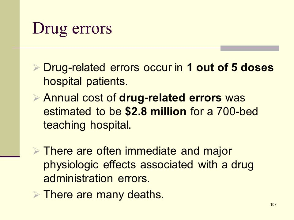 Drug errors Drug-related errors occur in 1 out of 5 doses hospital patients.