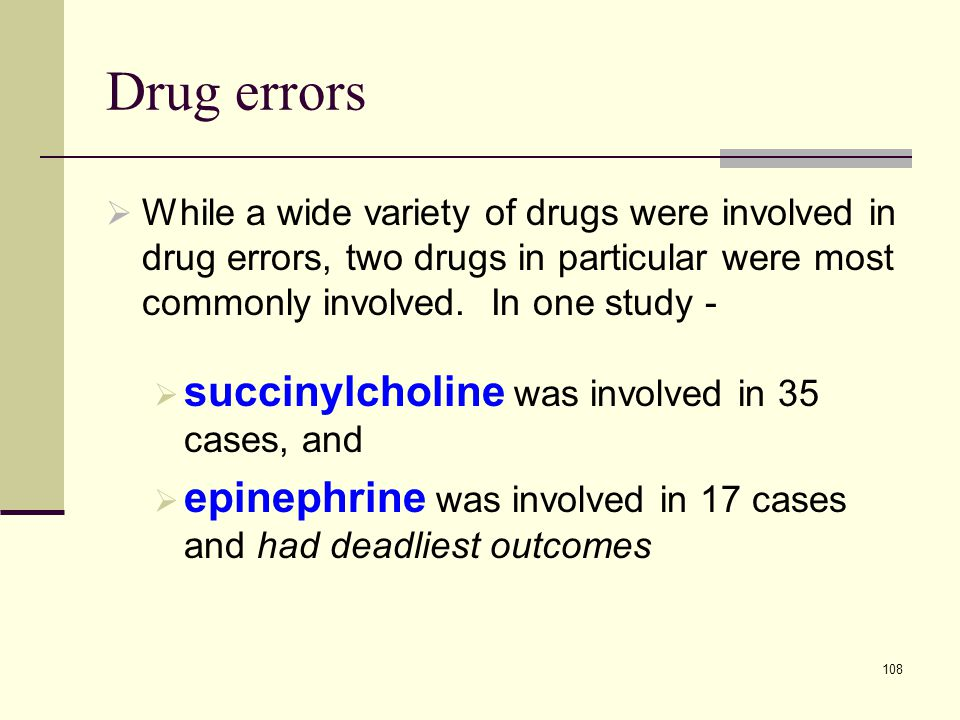 Drug errors succinylcholine was involved in 35 cases, and