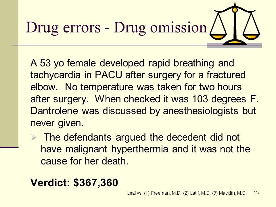 Drug errors - Drug omission