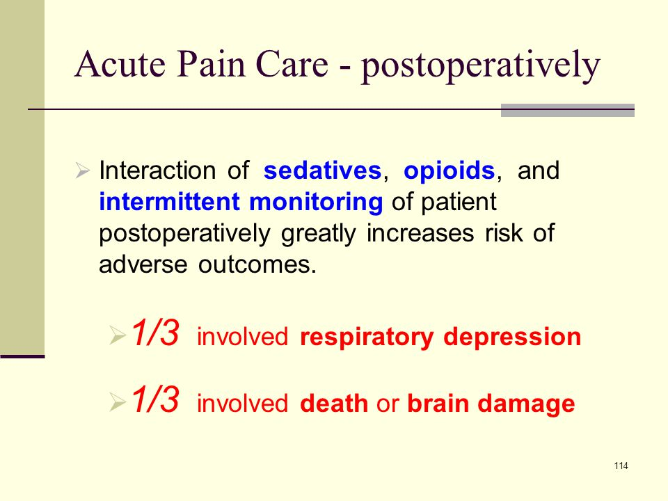 Acute Pain Care - postoperatively