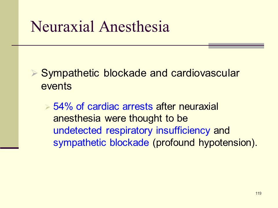 Neuraxial Anesthesia Sympathetic blockade and cardiovascular events