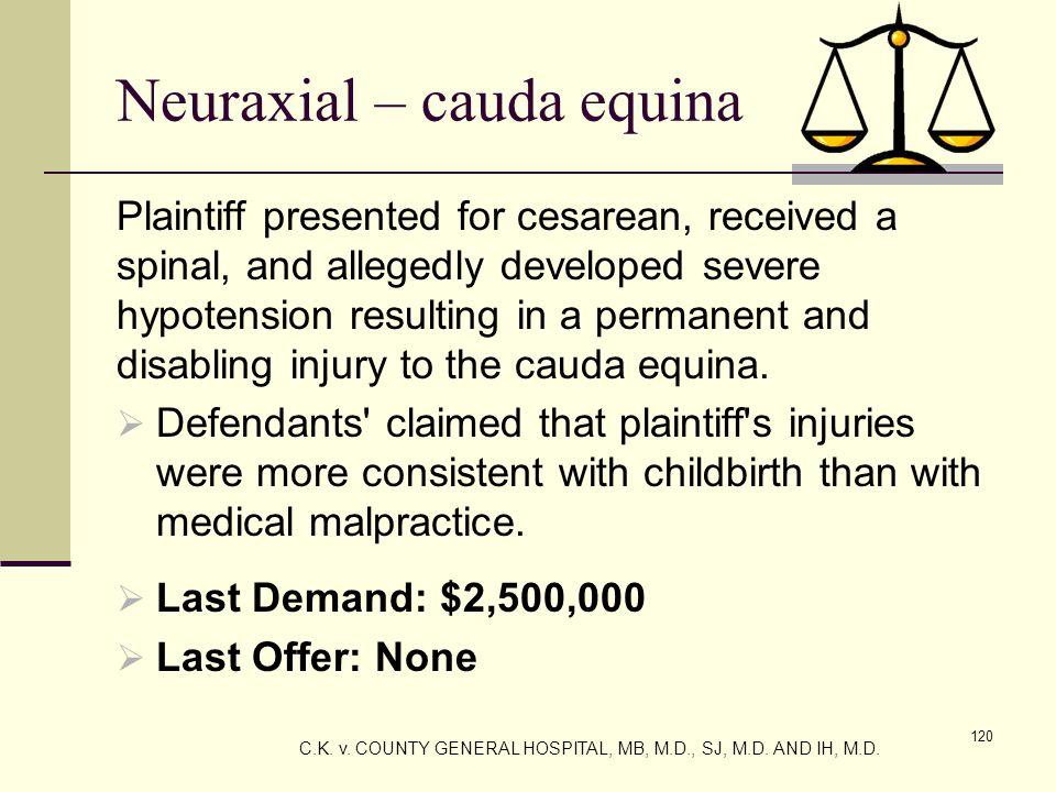Neuraxial – cauda equina