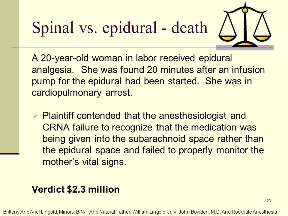 Spinal vs. epidural - death