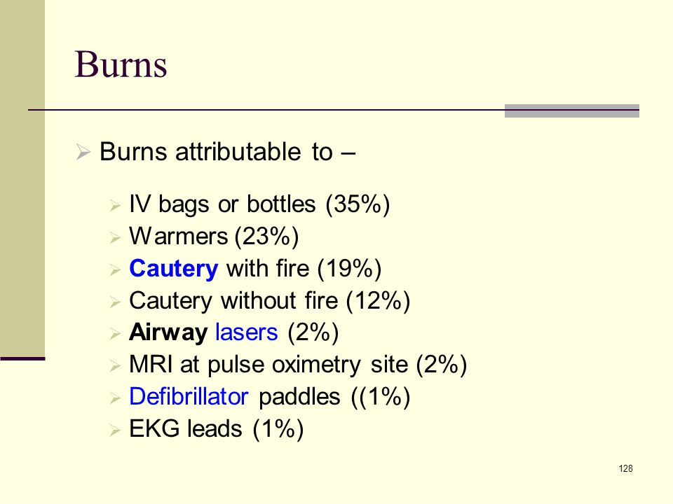 Burns Burns attributable to – IV bags or bottles (35%) Warmers (23%)