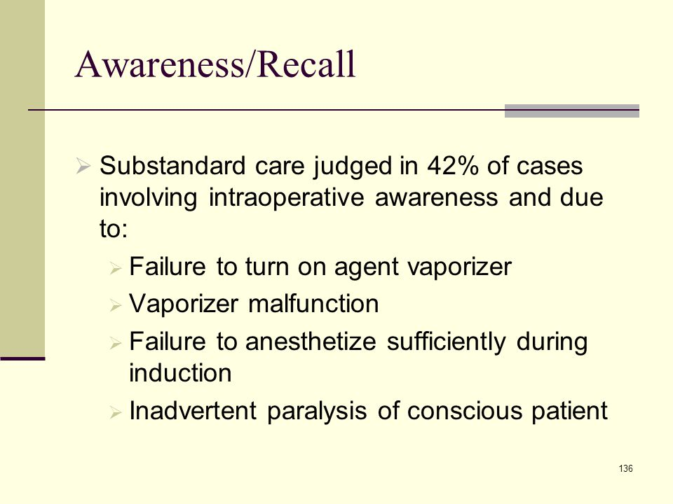 Awareness/Recall Substandard care judged in 42% of cases involving intraoperative awareness and due to: