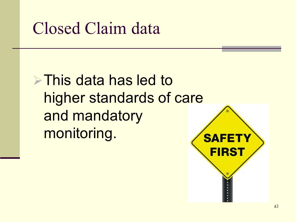 Closed Claim data This data has led to higher standards of care and mandatory monitoring.