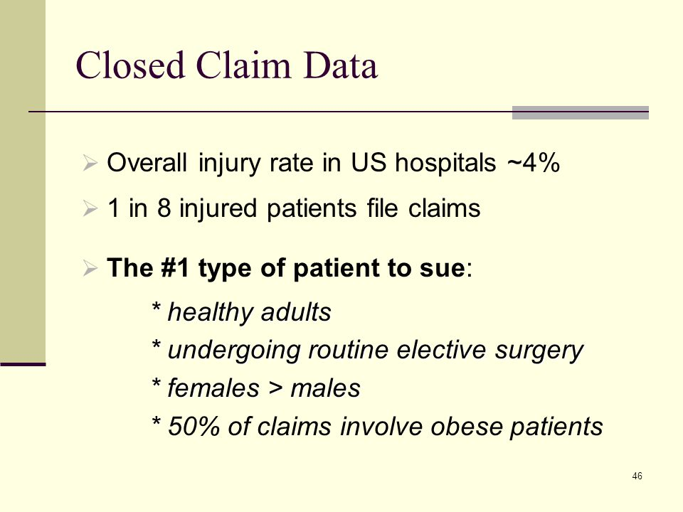 Closed Claim Data Overall injury rate in US hospitals ~4%