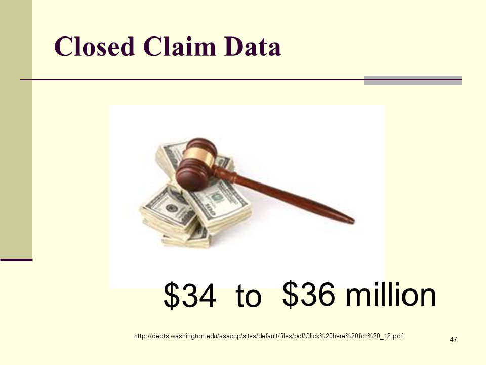 $34 to $36 million Closed Claim Data