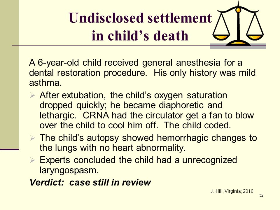 Undisclosed settlement in child's death