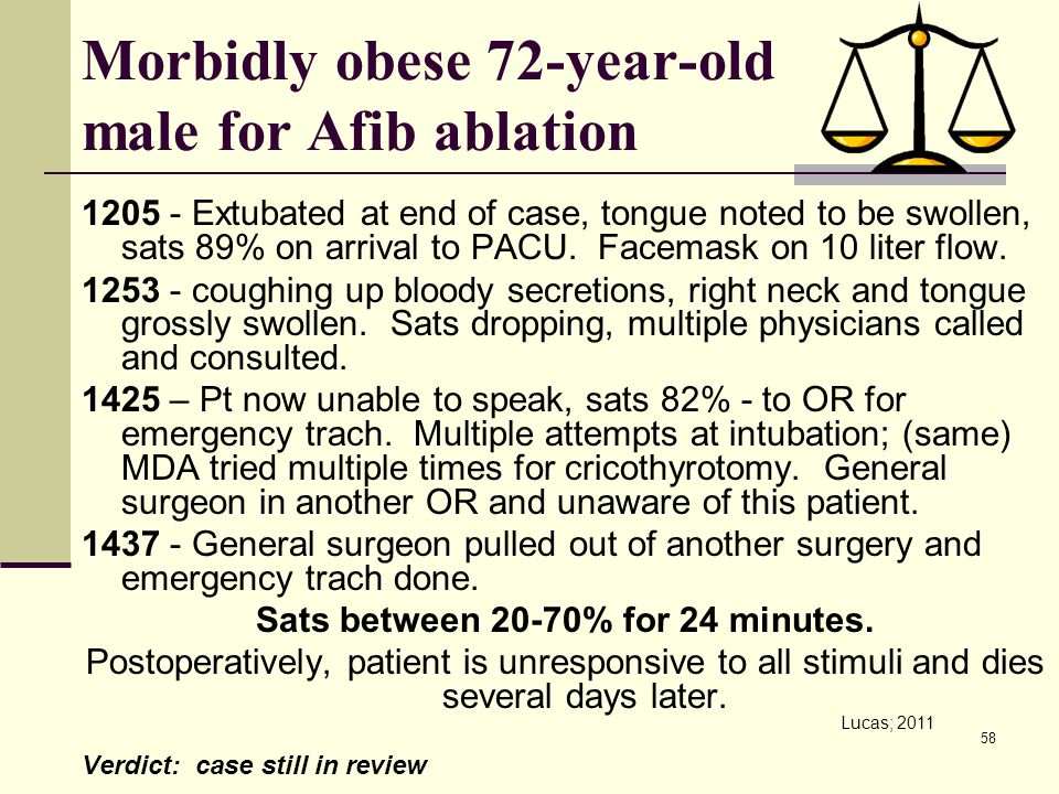 Morbidly obese 72-year-old male for Afib ablation