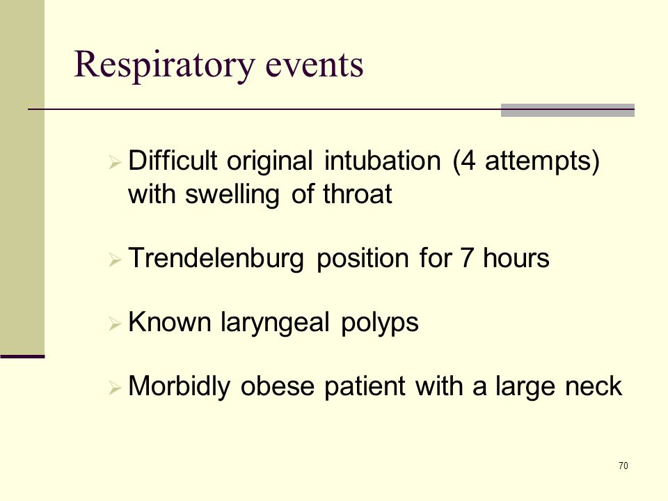 Respiratory events Difficult original intubation (4 attempts) with swelling of throat. Trendelenburg position for 7 hours.