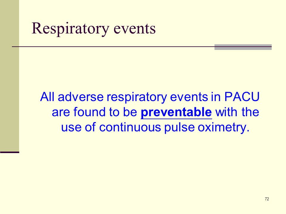 Respiratory events All adverse respiratory events in PACU are found to be preventable with the use of continuous pulse oximetry.