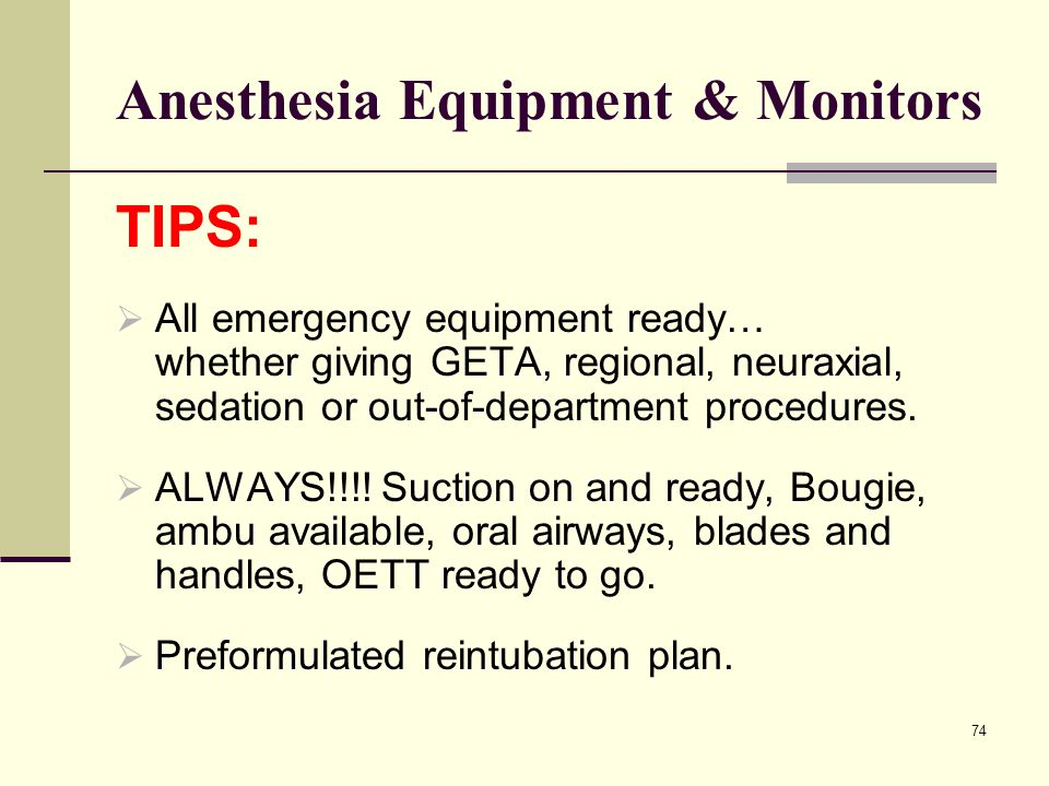 Anesthesia Equipment & Monitors