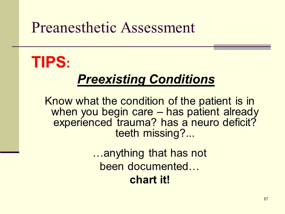 Preanesthetic Assessment