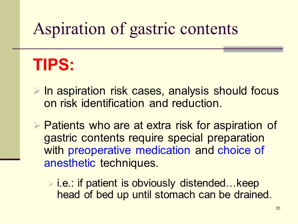 Aspiration of gastric contents